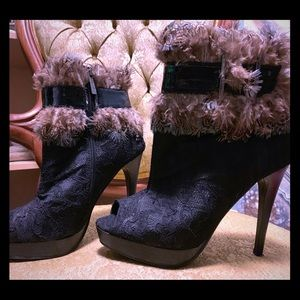 Shoes - Open toed feathered stiletto with buckle detail